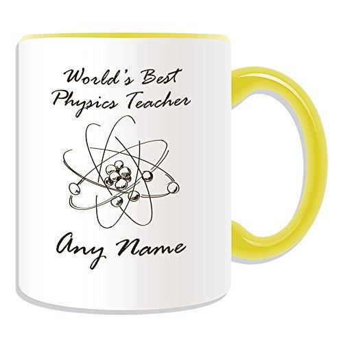 chenk–World 's Best Physik Lehrer/Atom Struktur Skizze, Tasse (Akademischer Design Thema, Farbe Optionen)–Jede Nachricht/Name auf Ihr Einzigartiges–Schule College Universität–Rutherford, keramik, gelb (Physik-lehrer-geschenke)