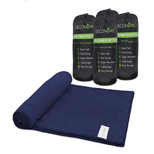 Deconovo Mehrzweck Mikrofaser Handtuch, perfekt für Reise Handtuch, Gym Handtuch, Sport Handtuch, Schwimmen Handtuch, schnell Trocknend, super saugfähig und Ultra Compact, Navy Blue-4pack, 19x27 inch -