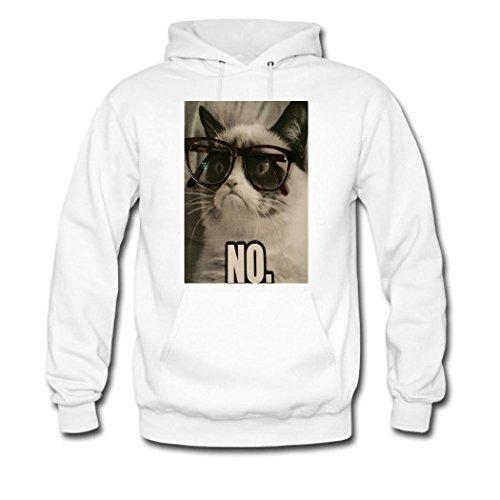 HGLee Printed Personalized Custom Cat Wearing Glasses Women's Hoodie Hooded Sweatshirt white
