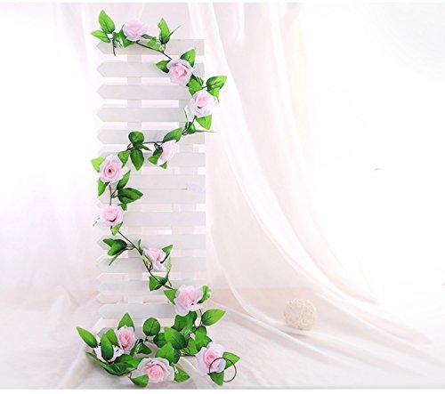 Famibay Künstliche Blume mit Rose, 39 Seide Head Hnaging Girlande Blumen Pack 3 Für Hochzeit (A-Rosa, 3 PCS)
