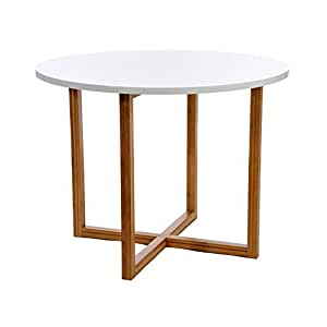 Table ronde en bois naturel blanc