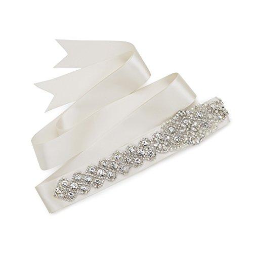 SWEETV Kristall Gürtel Strass und Perle Hochzeit Schärpe Brautgürtel für Frauen Kleider, Elfenbein