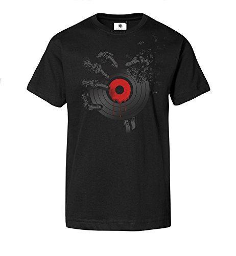 Bedrucktes Herren Streetwear T-Shirt mit Motiv Dead Vinyl (XL, Schwarz) (Vinyl-schallplatte Tote)