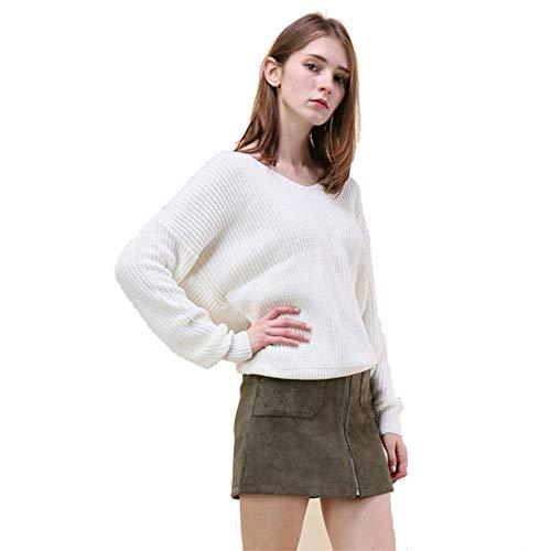 FWJ-clothes Frauen-Strickjacke-Strickpullover-Überbrücker-Bluse Langärmliges tiefes V-Ausschnitt-Verpackungs-vorderes Kreuz lösen rückenfreies Sweatshirt,White,M -