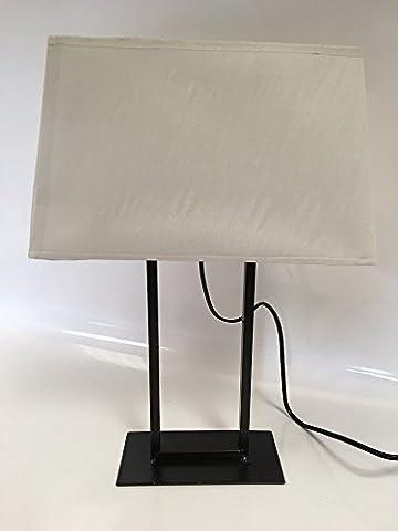 Lampe 43cm Füße Rechteck schwarz mit Lampenschirm weiß (Rechteck Lampenschirme)