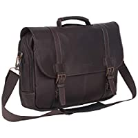 ‏‪Kenneth Cole Reaction Show Business Full Grain Colombian Leather Dual Capacity Flapover 15.6 Inch Laptop Business Wallet, , بني غامق - 524431‬‏