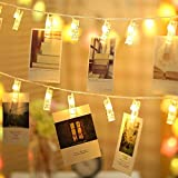 24 LED Photo Clips String Lights (Set Of 2 Box 12 Led Clips Each) - Fairy Lights For Hanging Photos Pictures And Home Decoration- (6.8 Feet Each, Warm White)