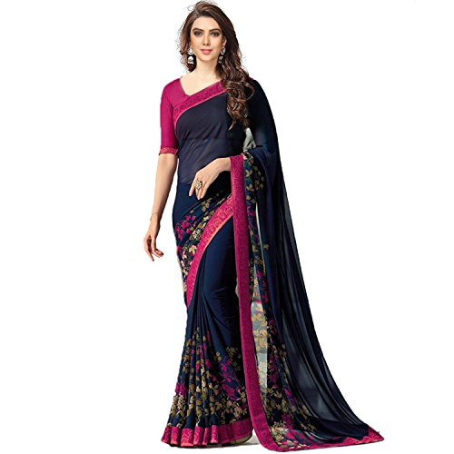 Fashion and Hub Georgette Saree With Blouse Piece (New Collection Saree l4_Navy blue_Free Size)