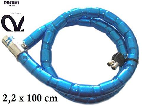 Ducomi® Raptor–Chaîne en acier avec fermeture à clé revêtement en caoutchouc super résistant anti vol et anti coupe pour moto, scooter et vélo, bleu