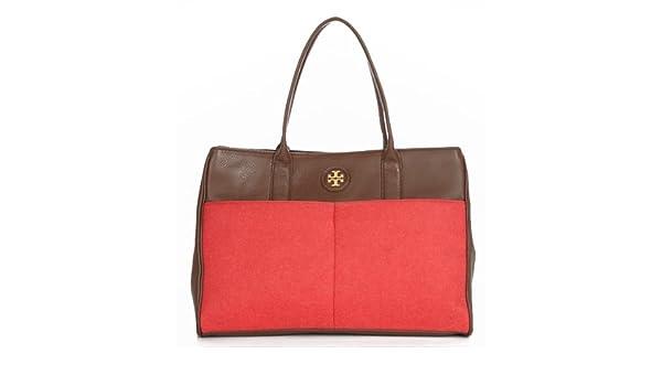 78f1e95fe Tory Burch Cameron Wool Felt Pebbled Leather Large Shoulder Tote Bag ...