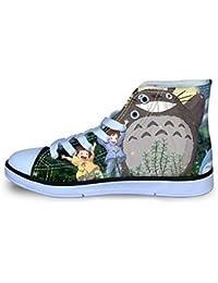 Fplkflefge Totoro Zapatos Zapatos de niños Antideslizante Lacing Zapatos del Ocio del Alto-Top Zapatos Zapatos de la Zapatilla Zapatos Planos niños y niñas