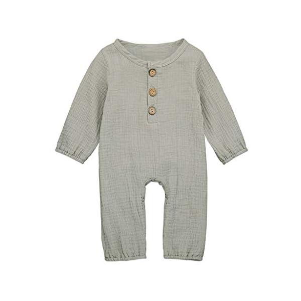 Monos para bebé recién Nacido de Manga Larga para Niñas Pijamas de Algodón y Lino Monos Mameluco Pelele para Bebé Fiesta 1