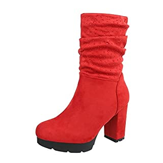 High Heel Stiefeletten Damen-Schuhe High Heel Stiefeletten Pump Strass Besetzte Reißverschluss Ital-Design Stiefeletten Rot, Gr 41, 0-181-
