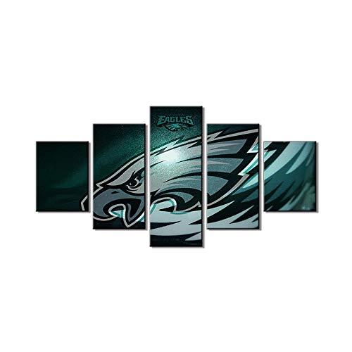 MIYCOLOR Native American Football Wanddekor Philadelphia Eagles Gemälde NFL Wandkunst 5 Stück Leinwand Modern Artowrk Schlafzimmer Wohnkultur @ 30x40_30x60_30x80 -