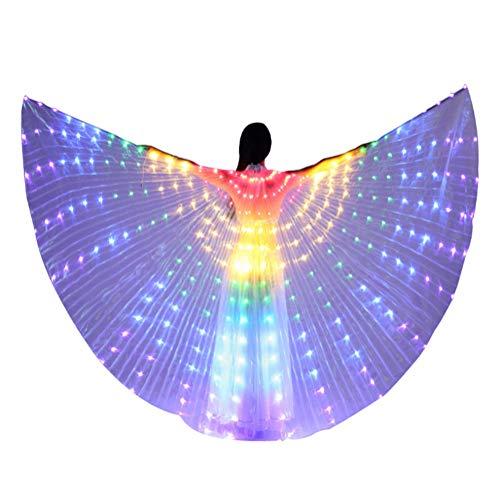 ZRR LED Glowing Color Tanzenflügel Bauchtanz, LED Glowing Requisiten Mantel Performance Party Angel Wings mit Teleskopstiel