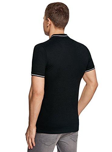 oodji Ultra Herren Poloshirt mit Stehkragen und Knopfverschluss Schwarz ( 2910P) ...