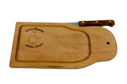 Frühstücksbrett Brotzeitbrett mit Messer 28 x 15 cm, persönlich graviert mit Ihrem Wunschmotiv und Wunschtext