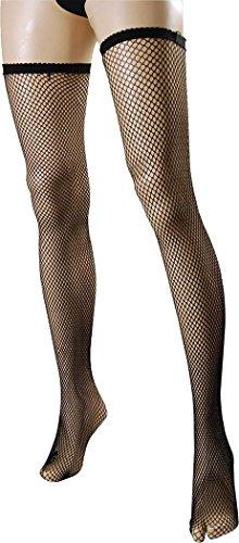 Damen Kleid Kostüm Party Zubehör Gothik Halterlose Strümpfe Fischnetz Strumpf schwarz one size