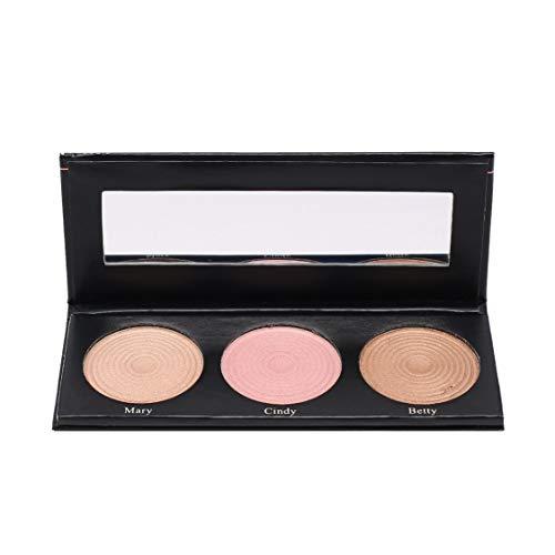 BEAUTY GLAZED Tragbare 3-Farben-Lidschatten-Palette Highlight Powder für intensive Leuchtkraft Make-up-Palette Wasserdichte Kosmetik - 3 Farben