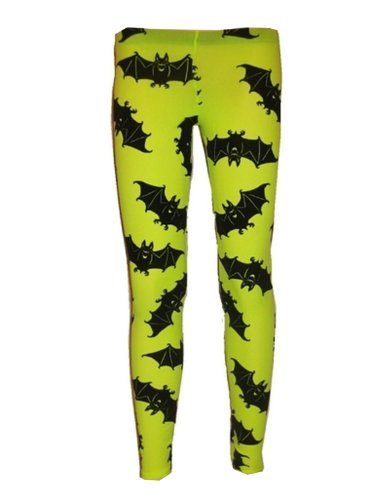Neon Green UV Bats Flock Print Leggings - S to XXL