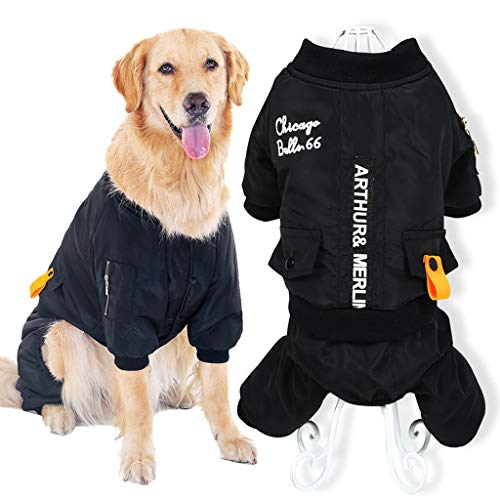 Hundewinterkleidung Großer Hund Warmer Mantel Medium Hund Große Hund Haustier Herbst Und Winter Kleidung Klassische Brief Vierbeiner Kleidung Outdoor-kleidung Schwarz (größe : 3XL)