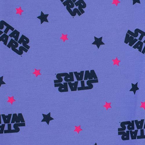 41EsNunFoKL - STAR WARS Pijamas de Manga Larga para niñas La Guerra de Las Galaxias Púrpura 7-8 Años