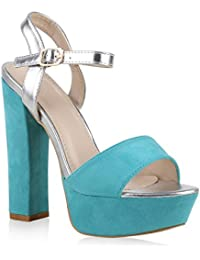 Damen Sandaletten Plateau Blockabsatz High Heels Schuhe | Flandell®