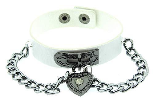 Lovelegis Damenarmband - Armband - Herz - Steampunk - Rock - Punk - Kunstleder - Kette - Taste - Gotik - Weiß Silberne Farbe
