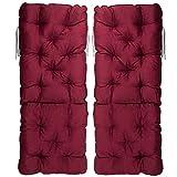 Meerweh 2er Set Hochlehner Auflage Kissen, Rückenteil ca 70 cm, Polsterauflage, rot, 120 x 50 x 10 cm