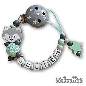 Schnullerkette mit Namen Mint Grau Fuchs Häkelperle mit Stern Geburt Taufe Geschenk individuell | Junge Namenskette