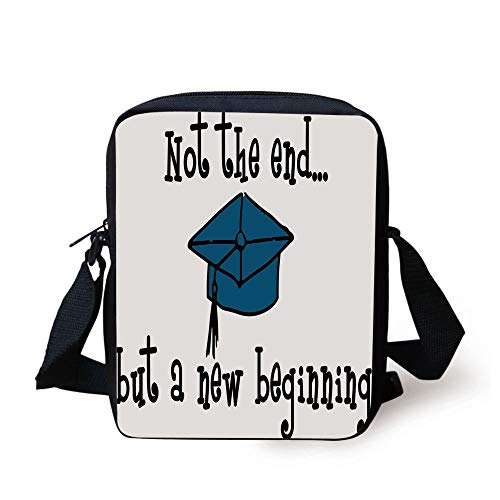 or,Not End But Beginning Motivational Phrase Graduate Cap Mortarboard Decorative,Black Blue White Print Kids Crossbody Messenger Bag Purse ()