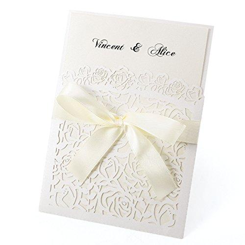 eiss Einladungskarten Elegante Rose Spitze Design mit Karten, Umschläge, Schleifer, Einlegeblätter OHNE DRUCK Hochzeit Geburtstag Taufe Party Einladung #30 ()