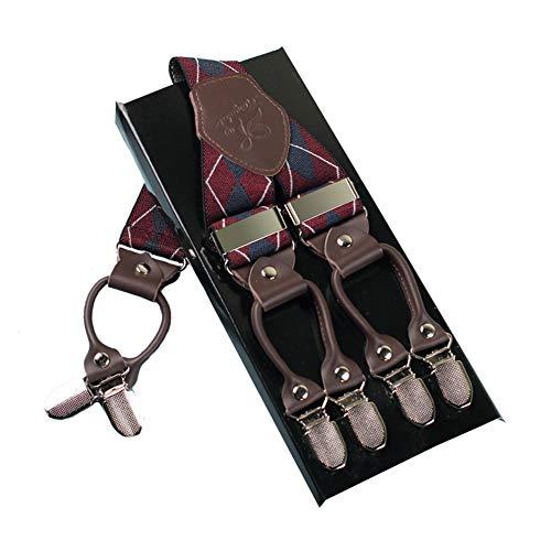 Mann Hosenträger Mode Einstellbare und Hohe Qualität KANGDAI 6 Clips mit Y Zurück Durable Breite Elastische Straps Hosenträger für Hosen Hosenträger (dunkelrote Raute) -