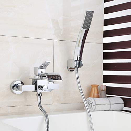 Modernes Wasserfall-Becken, In-Wall Concealed Hot and Cold Water Faucet Split Kupfer Single Handle Basin Tap DREI-Stück Zucker für Hotels, Restaurants,Silver (Restaurant Zucker)
