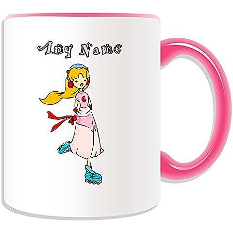 Personalised Gift-Tazza e pattinaggio, da ragazza, tema: Sport, colori, con nome e messaggio sulla tazza, Design artistico unico figure Dance Freestyle, Ceramica, rosa