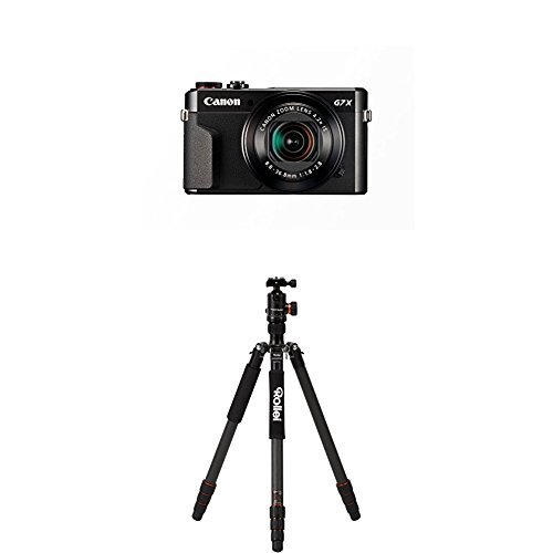 Canon PowerShot G7 X Mark II Digitalkamera mit klappbarem Display (20,1 Megapixel, 4,2-fach optischer Zoom (7,5 cm (3 Zoll) LCD-Display, Touchscreen) schwarz+Rollei C6i Carbon Black