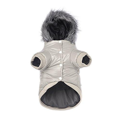 Namsan Pet Puppy Dog wasserfeste Kleidung und Winddichte Kapuzen Winter warme Kleidung Mantel Outwear -Grau -Kleine - Winter Hunde Kleine Pet-kleidung Für