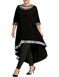 Sylar Vestidos De Fiesta Mujer Tallas Grandes Moda Simple Franja De Borde  Brillante Cuello Redondo Manga df0ec0375c6