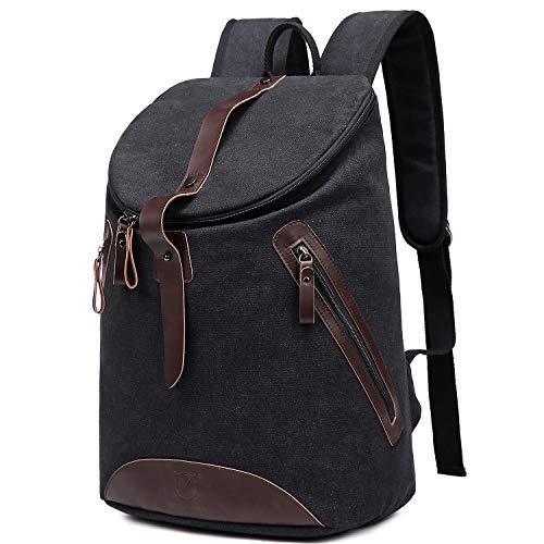 Myhozee Rucksack Damen Herren Canvas Schulrucksack-Vintage Unisex Tagesrucksack Daypack mit 15.6 Zoll Laptopfach für Uni Büro Schule &Alltag & Reise