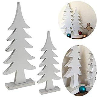 LS-LebenStil-2X-XL-Design-Deko-Holz-Weihnachtsbaum-Set-Wei-3424cm-Holz-Baum-X-Mas