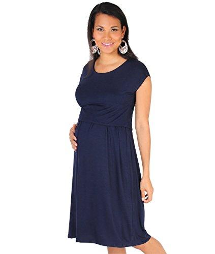KRISP® Femme Maternité Robe Effet T-shirt Plissé Elastique Tunique Eté Blue Marine