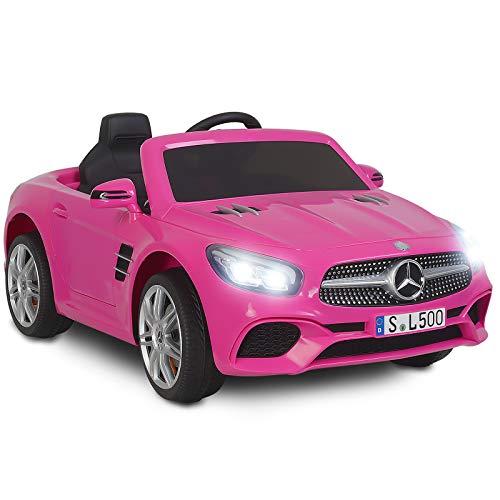 Uenjoy 12 V Mercedes-Benz SL500, Enfants Autorisés à Conduire des Voitures Electriques pour Enfants avec Télécommande,Rose