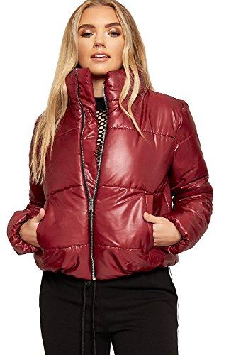 WEARALL - Damen Lang Hülle Quilted Gepolstert Reißverschluss Tasche Damen Neu Puffer Jacke - Wein - 42 (Reißverschluss-tasche Gepolsterte)