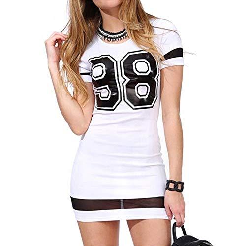 Sommer Damen Casual T-Shirt Kleid Mini Short Bodycon Sexy Bodycon Party Kleider Kurzarm Schwarz Weiß Vintage Bata Femme (Meine Bunny-kostüm Mädchen)