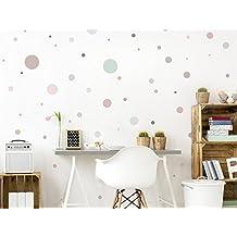 """'I Love di adesivo Was-10379–Set di adesivi da parete per cameretta """"pastello cerchi in delicato colore sfumature 50pezzi punti da attaccare alla parete adesivo sticker decorativo da parete"""