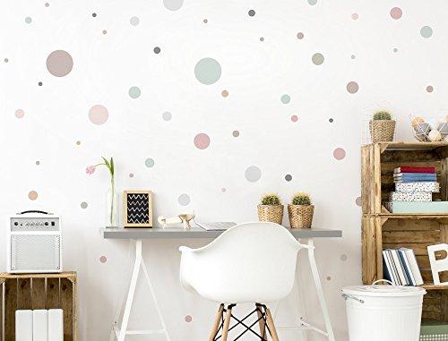 """I-love-Wandtattoo WAS-10379 Kinderzimmer Wandsticker Set """"Pastell Kreise in sanften Farbnuancen"""" 50 Stück Punkte zum Kleben Wandtattoo Wandaufkleber Sticker Wanddeko"""