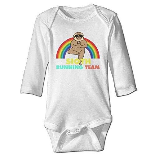 Monicago Neugeborenes Baby-Jungen-Mädchen-Bodysuit-Lange Hülse, Sloth Running Team Baby imple Jumpsuits Long-Sleeve Bodysuits