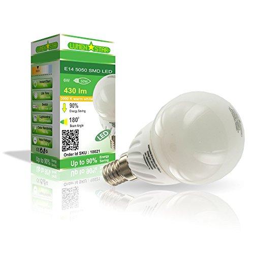 LumenStar® LED E14 G45 Lampe 6 Watt - 400lm, 3000K warmweiß, 120° Abstrahlwinkel, ersetzt 50W - Milano