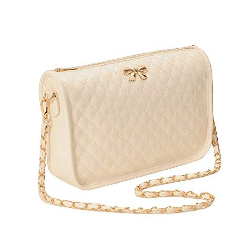 Minetom Ledertasche Damen Bowknot umhängetasche Handtasche Satchel Messenger Purse Tasche 5 Farben ( Beige ) (Purse Messenger Handtasche Bag)