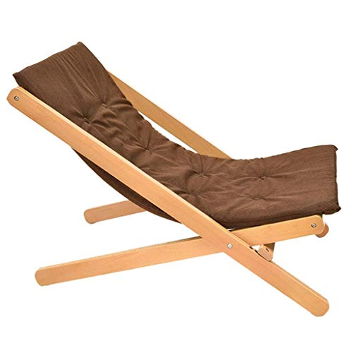 High-dining Patio-möbel (SEEKSUNG Recliner Chair,SjYsXm-recliners Holz Klappstuhl Gartensofa Lounger Chair mit dem High-Rebound-Schwamm Kissen Sonnenliege Stuhl Patio Stuhl Liegestuhl (Farbe: grau) -Brown)